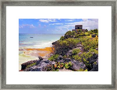 Framed Print featuring the photograph The Iguana And The Temple Of The God Of The Wind - Tulum Mayan Ruins - Mexico by Jason Politte