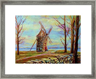 The Ile Perrot Windmill Moulin Ile Perrot Quebec Framed Print by Carole Spandau
