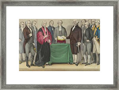 The Inauguration Of Washington As First President Of The United States Framed Print