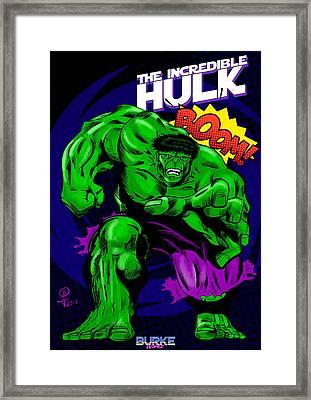 The Incredible Hulk Retro Style Framed Print by Joseph Burke