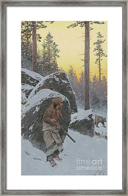 The Indian Bear Hunter, 1911 Framed Print