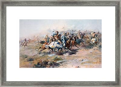 The Indian Encirclement Of General Custer At The Battle Of The Little Big Horn Framed Print by Charles Marion Russell