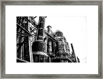 The Industrial Age At Bethlehem Steel In Black And White Framed Print by Bill Cannon