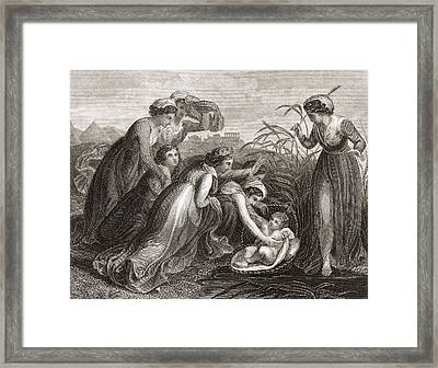 The Infant Moses Is Found Framed Print by Vintage Design Pics