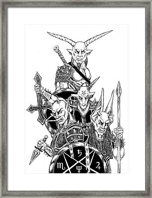 The Infernal Army White Version Framed Print by Alaric Barca