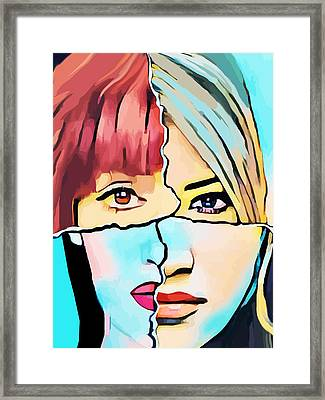The Inner Struggle Split Personality Abstract Framed Print