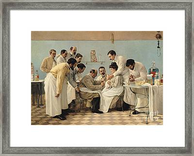 The Insertion Of A Tube Framed Print by Georges Chicotot