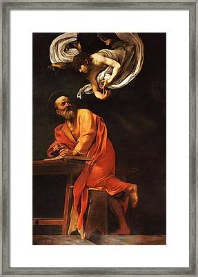 The Inspiration Of Saint Matthew Framed Print by Caravaggio