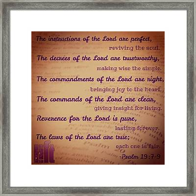The Instructions Of The Lord Are Framed Print