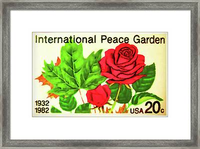The International Peace Garden Stamp Framed Print by Lanjee Chee