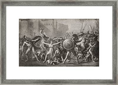 The Intervention Of The Sabine Women Framed Print by Vintage Design Pics