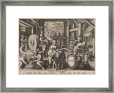 The Invention Of The Olive Oil Press Framed Print by Hans Collaert