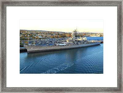 Framed Print featuring the photograph The Iowa At Sunset by Joe Kozlowski