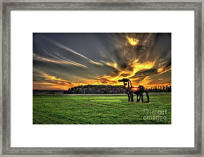 Framed Print featuring the photograph The Iron Horse Sunset by Reid Callaway