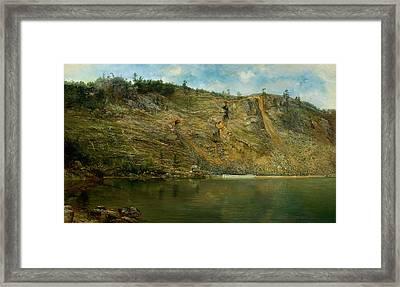 The Iron Mine, Port Henry, New York Framed Print by Homer Dodge Martin
