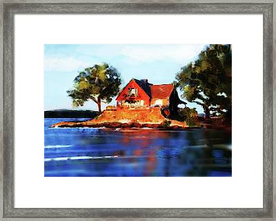 The Island House Framed Print by Russell Pierce