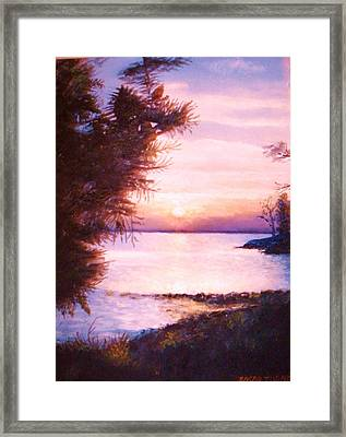 The James River At Twilight Framed Print by Anne-Elizabeth Whiteway