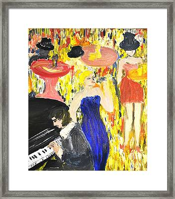 Framed Print featuring the painting The Jazz Singer by Evelina Popilian