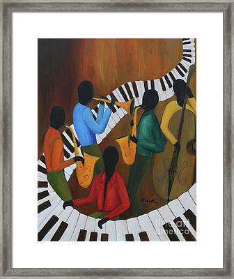 The Jazzy Five Framed Print by Larry Martin