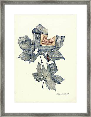 Framed Print featuring the drawing The Jeans Leaf by Tim Ernst