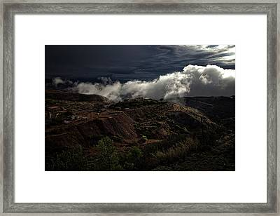Framed Print featuring the photograph The Jerome State Park With Low Lying Clouds After Storm by Ron Chilston