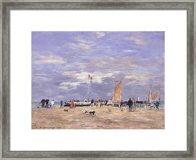 The Jetty At Deauville Framed Print by Eugene Louis Boudin