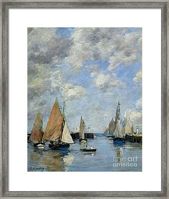 The Jetty At High Tide Framed Print by Eugene Louis Boudin
