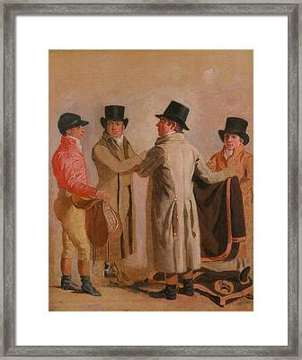 The Jockey Frank Buckle, The Owner-breeder John Wastell, His Trainer Robert Robson, And A Stable-lad Framed Print