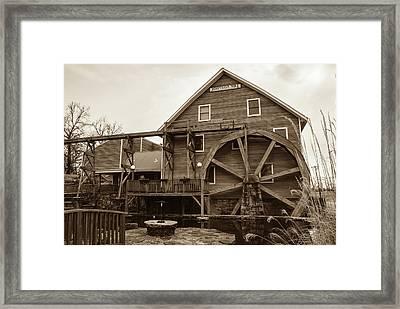 The Johnson Mill - Near Fayetteville Arkansas - Sepia Framed Print by Gregory Ballos