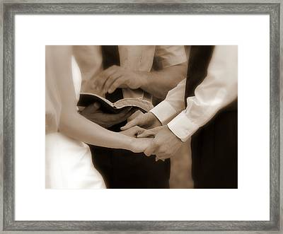 The Joining Of Hands Framed Print by Cindy Wright