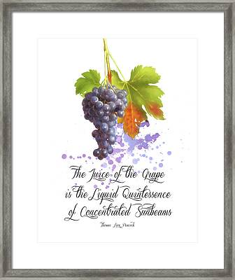 The Juice Of The Grapes Framed Print by Colleen Taylor