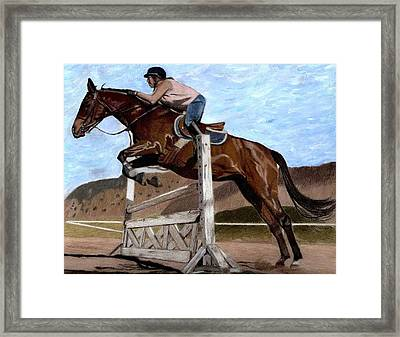 The Jumper - Horse And Rider Painting Framed Print