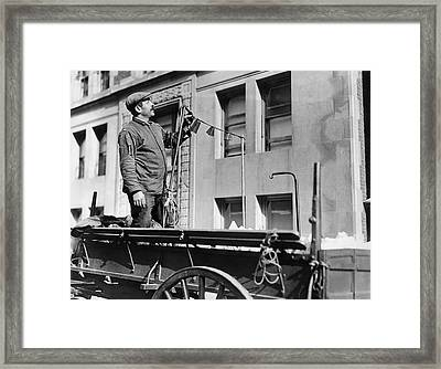 The Junk Man Calls Framed Print by Underwood Archives