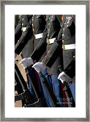 The Kaneohe Rifle Team Stands At Parade Framed Print