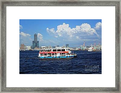 Framed Print featuring the photograph The Kaohsiung Harbor Ferry Crosses The Bay by Yali Shi