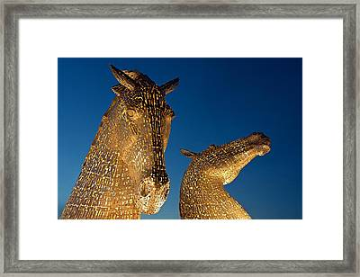 The Kelpies At Dusk Framed Print by Stephen Taylor