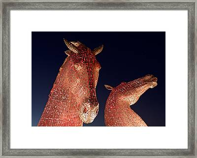 The Kelpies Illuminated Red Framed Print by Stephen Taylor