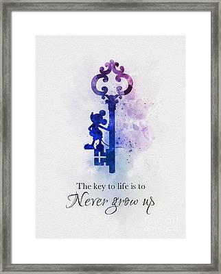 The Key To Life Is To Never Grow Up Framed Print