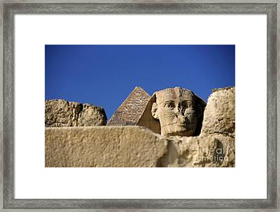 The Khephren Pyramid And The Great Sphinx Of Giza Framed Print by Sami Sarkis