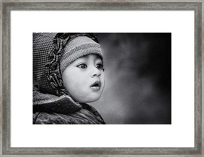 The Kid From Sarangkot Framed Print by Piet Flour
