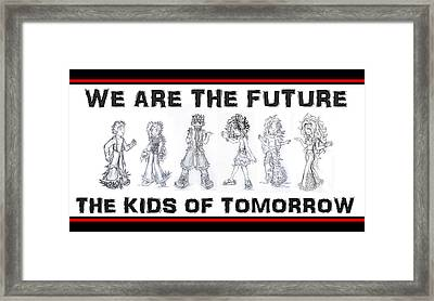 Framed Print featuring the drawing The Kids Of Tomorrow 1 by Shawn Dall