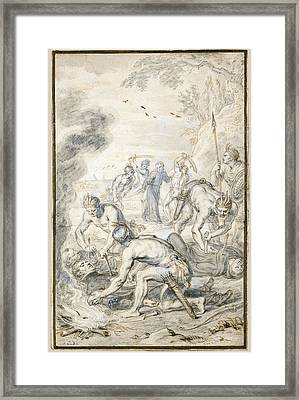 The Killing Of Jesuits  By Indians In Peru Framed Print