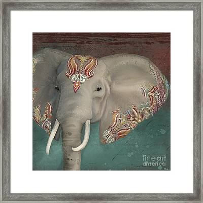 Framed Print featuring the painting The King - African Bull Elephant - Kashmir Paisley Tribal Pattern Safari Home Decor by Audrey Jeanne Roberts