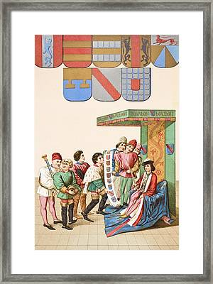 The King At Arms Shows The Duc De Framed Print by Vintage Design Pics