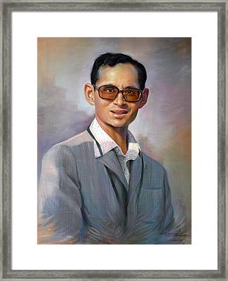 Framed Print featuring the painting The King Bhumibol by Chonkhet Phanwichien