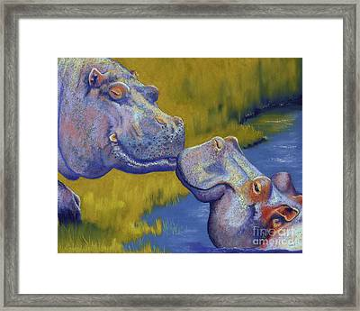 The Kiss - Hippos Framed Print by Tracy L Teeter