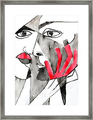 The Kiss In Red Framed Print by Jorge Berlato