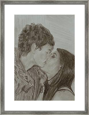 Framed Print featuring the drawing The Kiss by Quwatha Valentine
