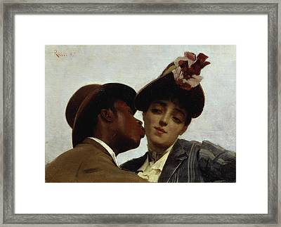 The Kiss Framed Print by Theodore Jacques Ralli