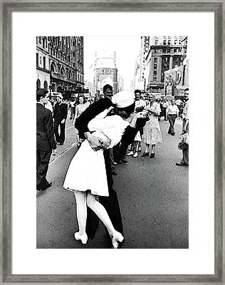 The Kiss,  V J Day Times Square Watercolor Ink Framed Print by Thomas Pollart